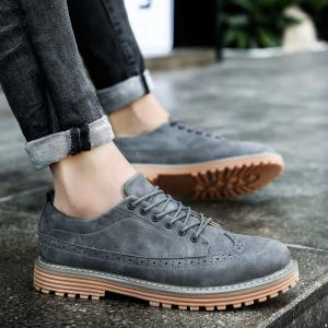 Carved Solid Color Round Toe Casual Shoes -