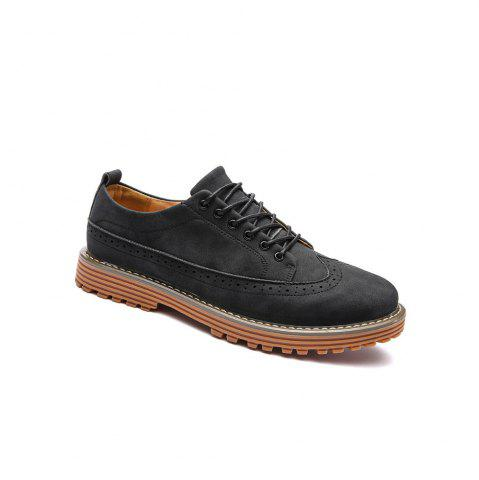 Discount Carved Solid Color Round Toe Casual Shoes - 43 BLACK Mobile