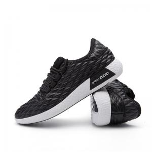 Checked and Solid Color Sport Shoes - BLACK 43