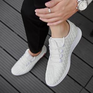 Checked and Solid Color Sport Shoes - WHITE 42