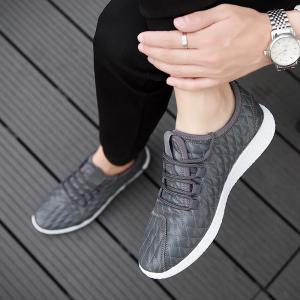 Checked and Solid Color Sport Shoes - GRAY 43