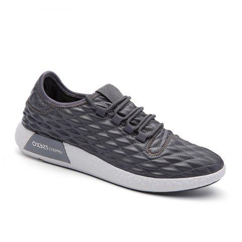 Unique Checked and Solid Color Sport Shoes GRAY 42