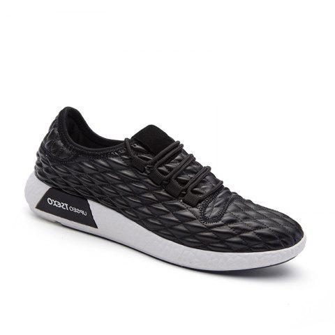 Fancy Checked and Solid Color Sport Shoes BLACK 41