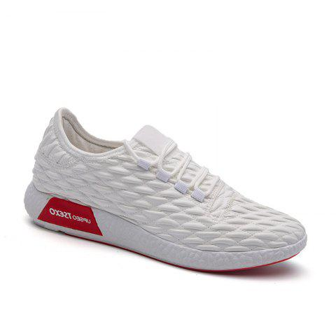 Unique Checked and Solid Color Sport Shoes WHITE 42