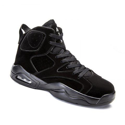 Shop High Top Breathable Basketball Shoes BLACK 44