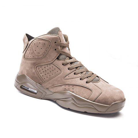 Latest High Top Breathable Basketball Shoes KHAKI 40