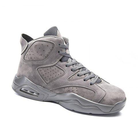 Online High Top Breathable Basketball Shoes - 40 GRAY Mobile