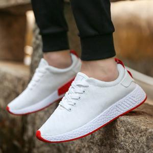 Color Block Knited Sport Shoes - WHITE 44