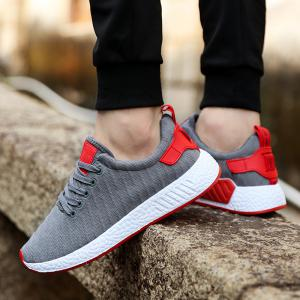 Color Block Knited Sport Shoes - GRAY 40