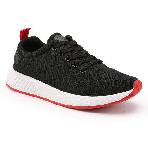 Sale Color Block Knited Sport Shoes - 42 BLACK Mobile
