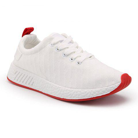 New Color Block Knited Sport Shoes - 39 WHITE Mobile