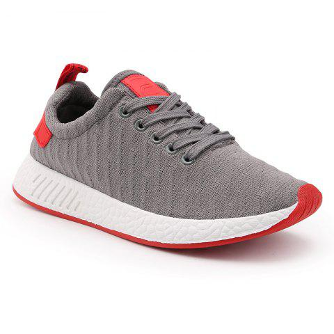 Fancy Color Block Knited Sport Shoes GRAY 40