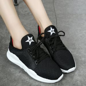 Breathable Letter Printed Sport Shoes - BLACK 35