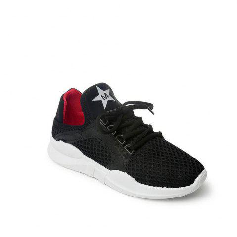 Hot Breathable Letter Printed Sport Shoes - 36 BLACK Mobile
