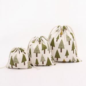 3pcs Fresh Christmas Trees Printed Cotton Flax Sac de stockage de sac de thé -
