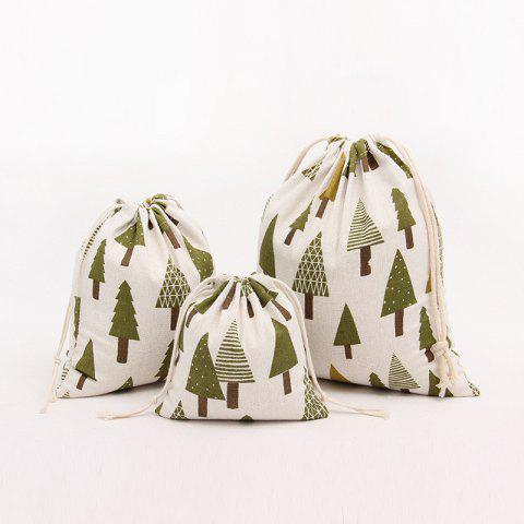 3pcs Fresh Christmas Trees Printed Cotton Flax Sac de stockage de sac de thé