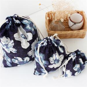 3pcs Kapok printed Cotton Flax Tea Bag Storage Pouch -