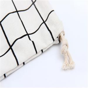 3pcs Lattice Printed Cotton Flax Tea Bag Storage Pouch - WHITE