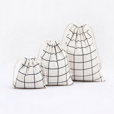 Buy 3pcs Lattice Printed Cotton Flax Tea Bag Storage Pouch WHITE