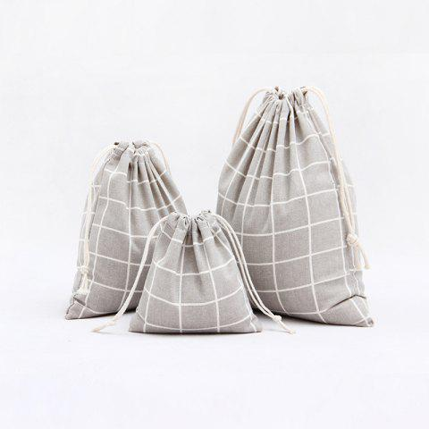 Best 3pcs Lattice Printed Cotton Flax Tea Bag Storage Pouch GRAY