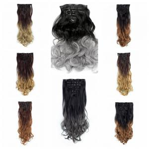 TODO 24inch Curly Ombre Style 7-Piece 16-Clip Hair Extensions - #7 24INCH