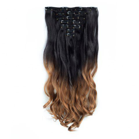 Fashion TODO 24inch Curly Ombre Style 7-Piece 16-Clip Hair Extensions