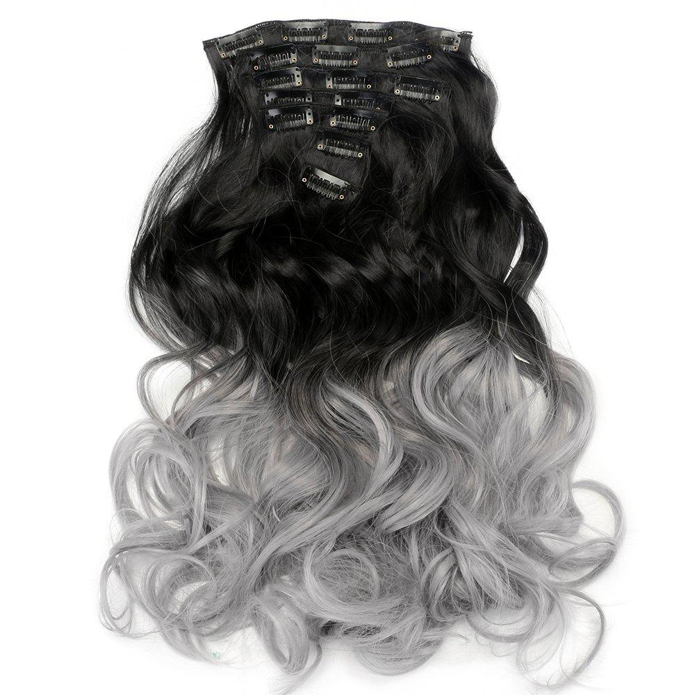 TODO 24inch Curly Ombre Style 7-Piece 16-Clip Hair ExtensionsHAIR<br><br>Size: 24INCH; Color: #2; Brand: TODO; Type: synthetic hair extension; Wig Length: Long; Wig Style: Body Wave,Bouncy Curly,Water Wave; Stretched Length: 24inches; Wig Color: Black,Gray,Multi-color; Material: High Temperature Fiber;