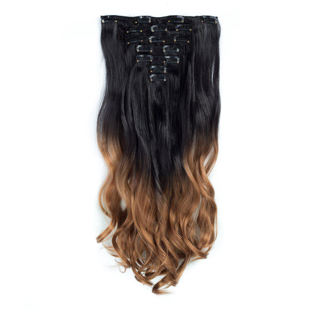TODO 24inch Curly Ombre Style 7-Piece 16-Clip Hair ExtensionsHAIR<br><br>Size: 24INCH; Color: #8; Brand: TODO; Type: synthetic hair extension; Wig Length: Long; Wig Style: Body Wave,Bouncy Curly,Water Wave; Stretched Length: 24inches; Wig Color: Black,Gray,Multi-color; Material: High Temperature Fiber;