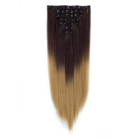 Unique TODO Straight Ombre 7-Piece 16-Clip Clip-in Hair Extensions #6 22INCH