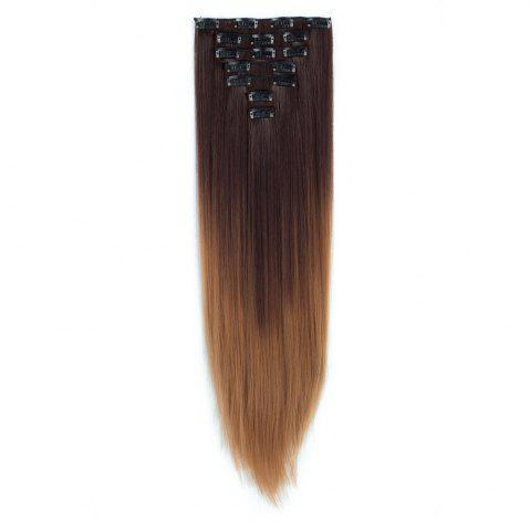 Fashion TODO Straight Ombre 7-Piece 16-Clip Clip-in Hair Extensions - 22INCH #7 Mobile