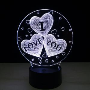 Yeduo Acrylic 7 Color Changing Usb Charge 3D Heart I Love You Led Night Light with 3D Luminous Decor Table Lamp Nightlight -