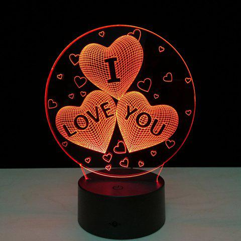Sale Yeduo Acrylic 7 Color Changing Usb Charge 3D Heart I Love You Led Night Light with 3D Luminous Decor Table Lamp Nightlight - COLORMIX  Mobile