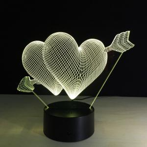 Yeduo 3D Led Night Light 7 Color Changing Piercing Heart Creative Remote Control Or Touch Switch Led Decorate Lamp As Gift -