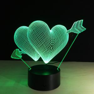 Yeduo 3D Led Night Light 7 Color Changing Piercing Heart Creative Remote Control Or Touch Switch Led Decorate Lamp As Gift - COLORMIX