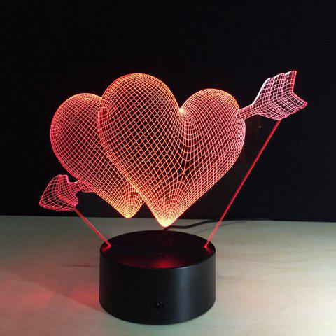 Cheap Yeduo 3D Led Night Light 7 Color Changing Piercing Heart Creative Remote Control Or Touch Switch Led Decorate Lamp As Gift COLORMIX