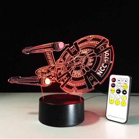 Unique Yeduo 3D Battleship Spacecraft Led Illusion Mood Lamp Bedroom Table Lamp Night Light Bulbing Child Kids Friends Man Family Gifts COLORMIX