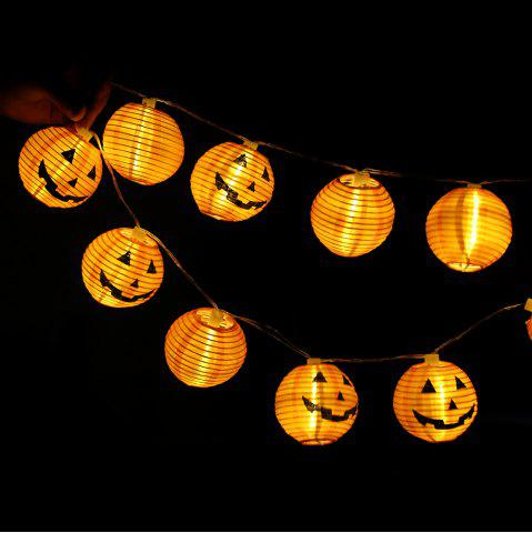10-LED Halloween Pumpkin String Lights Decorative Colored Lamp - Warm White Light