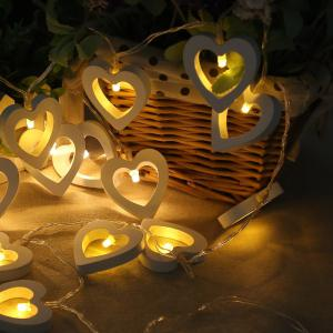 10-LED Christmastree Wooden Loving Heart String Lights Decorative Colored Lamp -