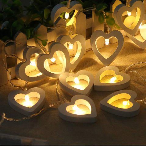Affordable 10-LED Christmastree Wooden Loving Heart String Lights Decorative Colored Lamp WARM WHITE LIGHT
