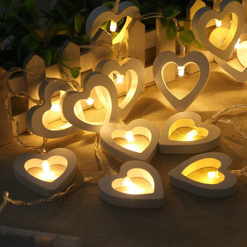 10-LED Christmastree Wooden Loving Heart String Lights Decorative Colored LampHOME<br><br>Color: WARM WHITE LIGHT;