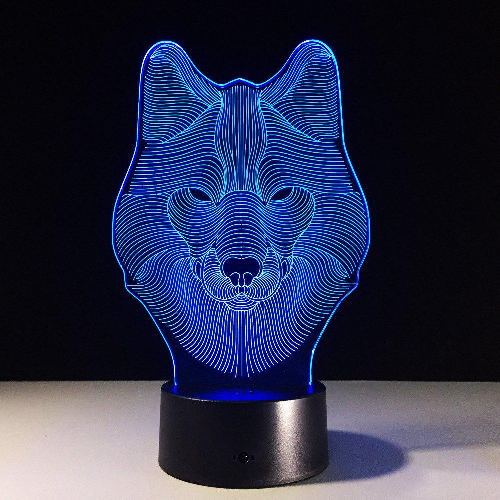 Yeduo Animal Wolf Decor 3D Led Nightlights Colorful Wolf Design Table Lamp Teen Wolf Illusion Lights Bedroom Modern DecorHOME<br><br>Color: COLORMIX;