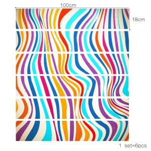 Colorful Stripes Style Stair Sticker Wall Deco - COULEUR MELANGER 18 x 100cm x 6 pieces
