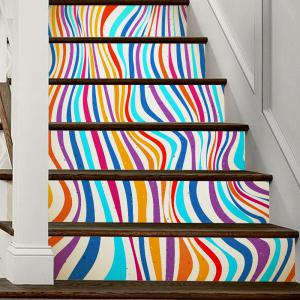 Colorful Stripes Style Stair Sticker Wall Deco -