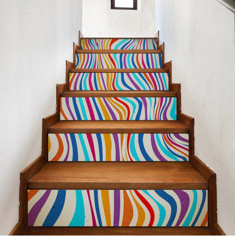 Colorful Stripes Style Stair Sticker Wall Deco COULEUR MELANGER 18 x 100cm x 6 pieces