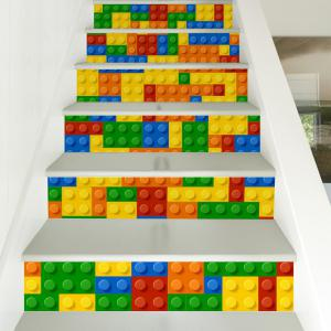 Building Blocks Style Stair Sticker Wall Deco - COULEUR MELANGER 18 x 100cm x 6 pieces