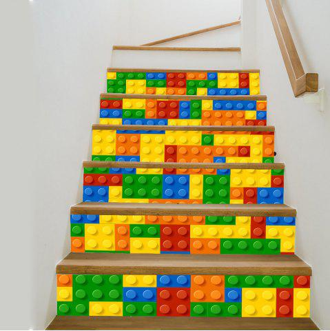 Shop Building Blocks Style Stair Sticker Wall Decor - 18 X 100CM X 6 PIECES MIX COLOR Mobile