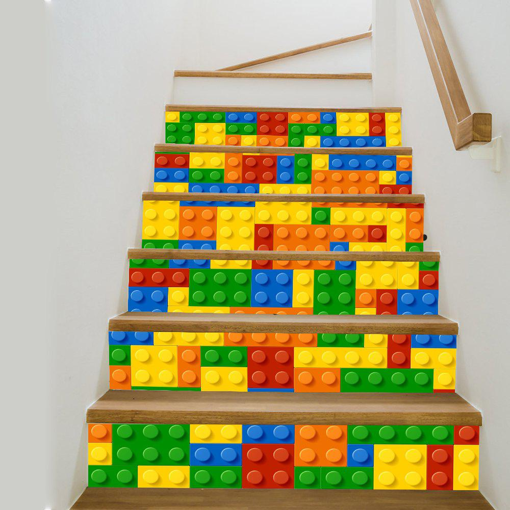 Shop Building Blocks Style Stair Sticker Wall Decor