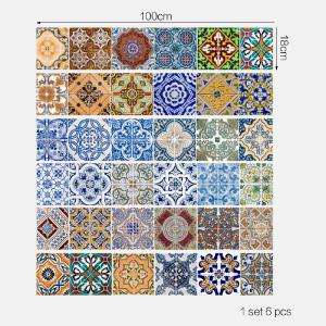 Ceramic Tiles Patterns Style Stair Sticker Wall Decor -