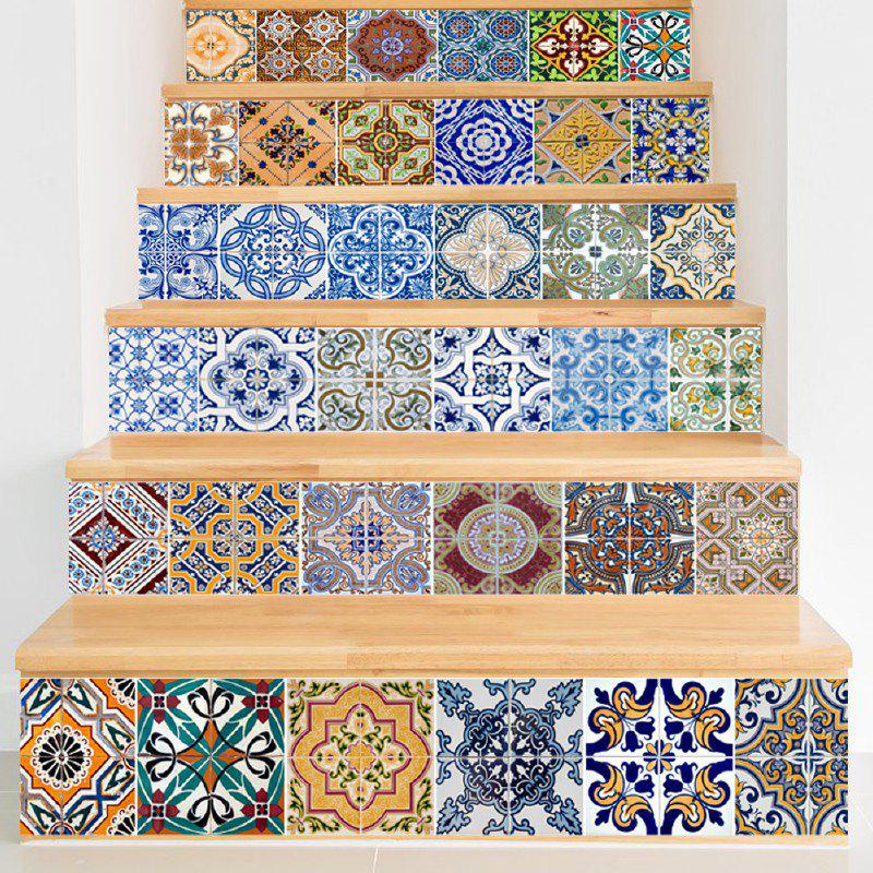 Ceramic Tiles Patterns Style Stair Sticker Wall DecorHOME<br><br>Size: 18 X 100CM X 6 PIECES; Color: MIXED COLOR;