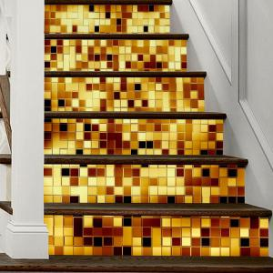 Gold Mosaic Style Stair Sticker Wall Decor - MIX COLOR 18 X 100CM X 6 PIECES